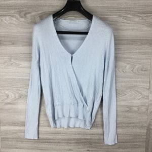 Elodie Blue Ribbed Wrap Sweater